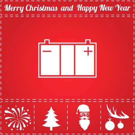 Accumulator Icon Vector. And bonus symbol for New Year - Santa Claus, Christmas Tree, Firework, Balls on deer antlers