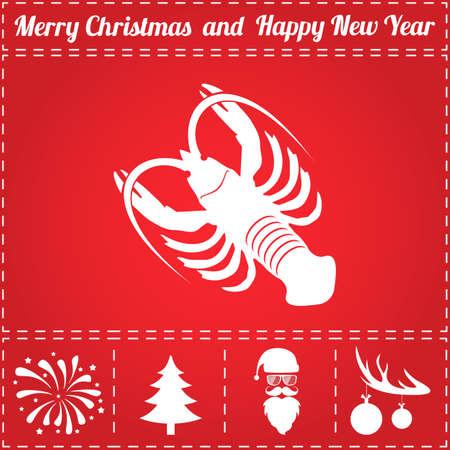 Crayfish Icon. And bonus symbol for New Year - Santa Claus, Christmas Tree, Firework, Balls on deer antlers