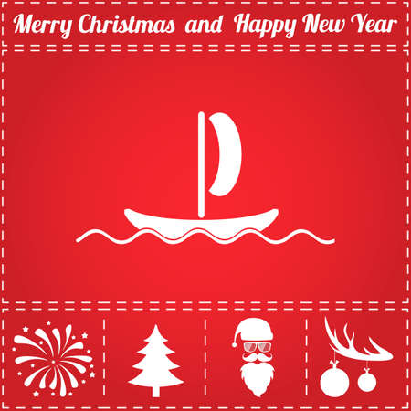Boat Icon. And bonus symbol for New Year - Santa Claus, Christmas Tree, Firework, Balls on deer antlers