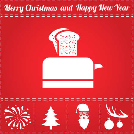Toaster Icon Vector. And bonus symbol for New Year - Santa Claus, Christmas Tree, Firework, Balls on deer antlers