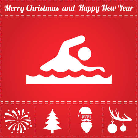 Swim Icon Vector. And bonus symbol for New Year - Santa Claus, Christmas Tree, Firework, Balls on deer antlers