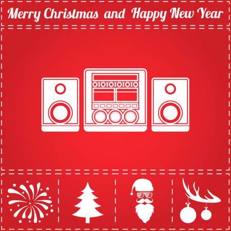 Music center Icon Vector. And bonus symbol for New Year - Santa Claus, Christmas Tree, Firework, Balls on deer antlers