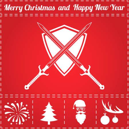 Sword shield Icon Vector. And bonus symbol for New Year - Santa Claus, Christmas Tree, Firework, Balls on deer antlers
