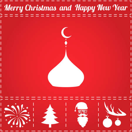 Islam dome Icon Vector. And bonus symbol for New Year - Santa Claus, Christmas Tree, Firework, Balls on deer antlers
