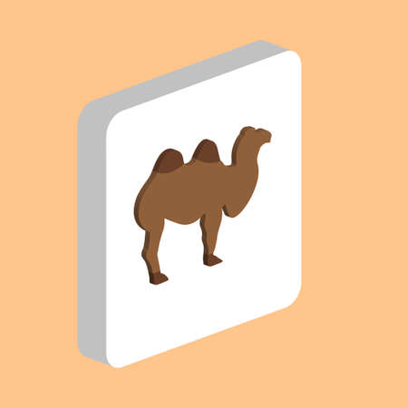 African Bactrian Camel Simple vector icon. Illustration symbol design template for web mobile UI element. Perfect color isometric pictogram on 3d white square. Camel icons for your business project