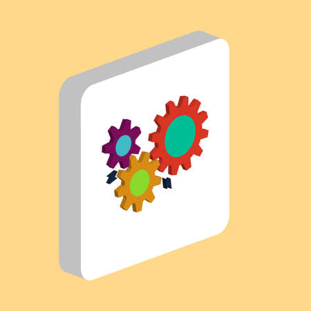 Mechanism, Gears Simple vector icon. Illustration symbol design template for web mobile UI element. Perfect color isometric pictogram on 3d white square. Mechanism Gears icons for you business project