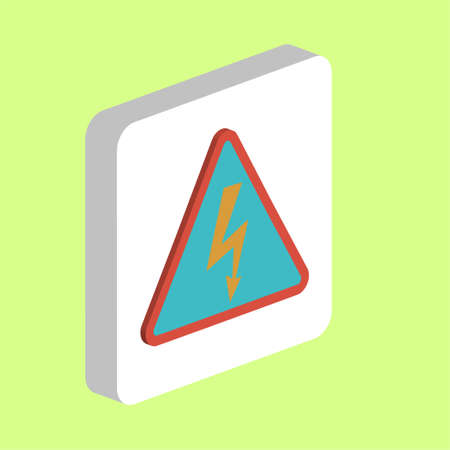 High Voltage Simple vector icon. Illustration symbol design template for web mobile UI element. Perfect color isometric pictogram on 3d white square. High Voltage icons for your business project Illustration
