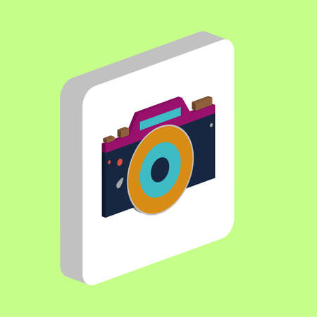 Camera DSLR Simple vector icon. Illustration symbol design template for web mobile UI element. Perfect color isometric pictogram on 3d white square. Camera DSLR icons for your business project