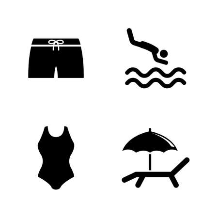 Water Pool, Swimming. Simple Related Vector Icons Set for Video, Mobile Apps, Web Sites, Print Projects and Your Design. Water Pool, Swimming icon Black Flat Illustration on White Background.