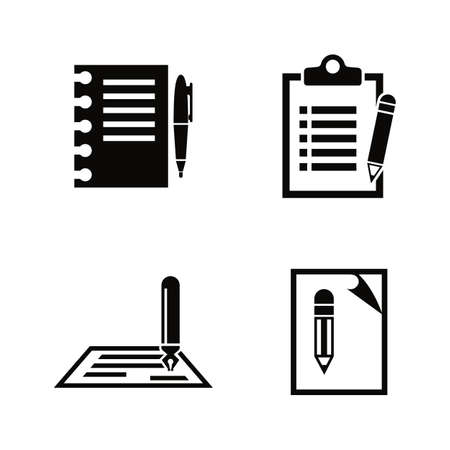 Writing, Edit, Write. Simple Related Vector Icons Set for Video, Mobile Apps, Web Sites, Print Projects and Your Design. Writing, Edit, Write icon Black Flat Illustration on White Background.