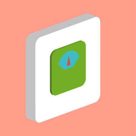 Bathroom Scales Simple vector icon. Illustration symbol design template for web mobile UI element. Perfect color isometric pictogram on 3d white square. Scales icons for you business project
