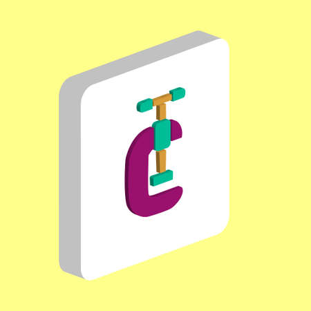 Clamping Vice Simple vector icon. Illustration symbol design template for web mobile UI element. Perfect color isometric pictogram on 3d white square. Clamping Vice icons for you business project