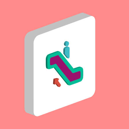 Staircase Simple vector icon. Illustration symbol design template for web mobile UI element. Perfect color isometric pictogram on 3d white square. Staircase icons for you business project