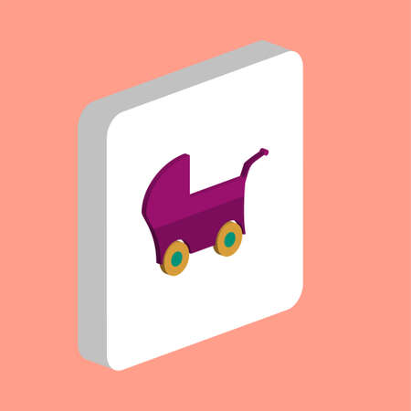 Baby Stroller Simple vector icon. Illustration symbol design template for web mobile UI element. Perfect color isometric pictogram on 3d white square. Baby Stroller icons for you business project