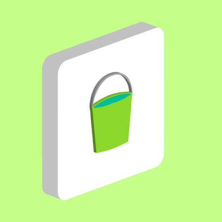Bucket Simple vector icon. Illustration symbol design template for web mobile UI element. Perfect color isometric pictogram on 3d white square. Bucket icons for you business project