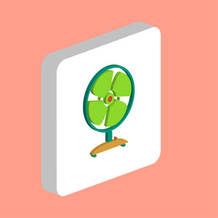 Fan Simple vector icon. Illustration symbol design template for web mobile UI element. Perfect color isometric pictogram on 3d white square. Fan icons for you business project