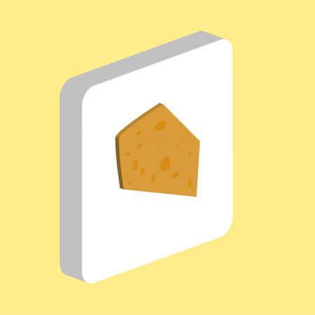 Cheese Simple vector icon. Illustration symbol design template for web mobile UI element. Perfect color isometric pictogram on 3d white square. Cheese icons for you business project 矢量图像