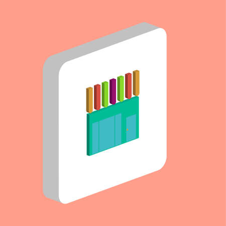 Shop, Store Simple vector icon. Illustration symbol design template for web mobile UI element. Perfect color isometric pictogram on 3d white square. Shop, Store icons for you business project Stock Illustratie