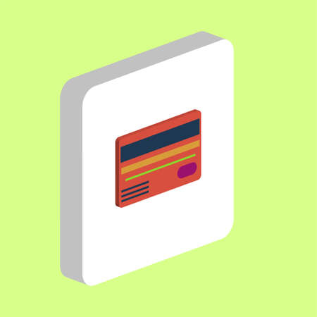 Credit Card Simple vector icon. Illustration symbol design template for web mobile UI element. Perfect color isometric pictogram on 3d white square. Credit Card icons for you business project