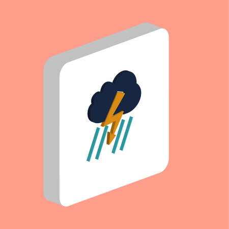Thunderstorm Simple vector icon. Illustration symbol design template for web mobile UI element. Perfect color isometric pictogram on 3d white square. Thunderstorm icons for you business project Illustration