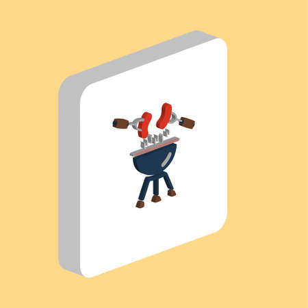 Grill Sausage, BBQ Simple vector icon. Illustration symbol design template for web mobile UI element. Perfect color isometric pictogram on 3d white square. Grill Sausage icons for you business project