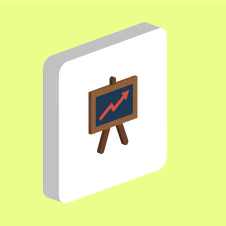 Presentation Board Simple vector icon. Illustration symbol design template for web mobile UI element. Perfect color isometric pictogram on 3d white square. Billboard icons for you business project