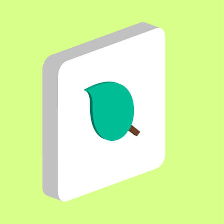 Leaf Simple vector icon. Illustration symbol design template for web mobile UI element. Perfect color isometric pictogram on 3d white square. Leaf icons for you business project 向量圖像