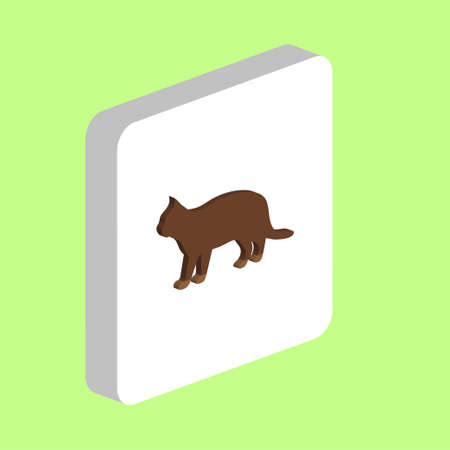 Cat, Pussycat Simple vector icon. Illustration symbol design template for web mobile UI element. Perfect color isometric pictogram on 3d white square. Cat, Pussycat icons for you business project