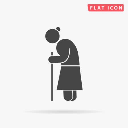 Old woman walking with cane. Grandmother character. Grandma pensioner person. Flat design style minimal vector illustration icon for web design