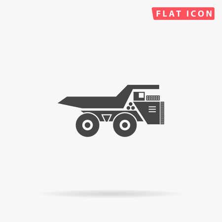 Large mining dumper tipper. Big heavy dump truck. Flat design style minimal vector illustration icon for web design