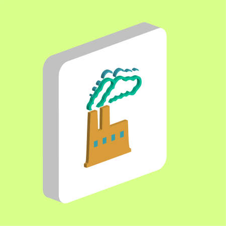 Power Plant Simple vector icon. Illustration symbol design template for web mobile UI element. Perfect color isometric pictogram on 3d white square. Power Plant icons for you business project