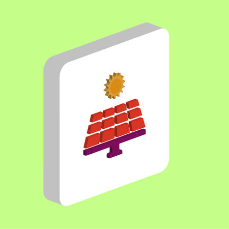 Solar Energy Simple vector icon. Illustration symbol design template for web mobile UI element. Perfect color isometric pictogram on 3d white square. Solar Energy icons for you business project