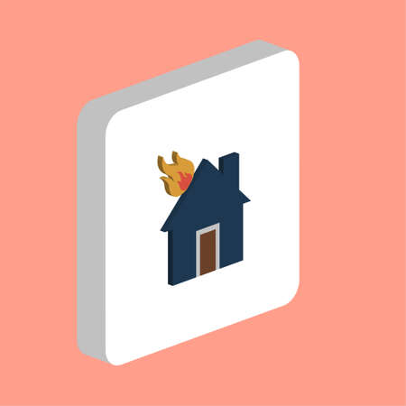 House Fire Simple vector icon. Illustration symbol design template for web mobile UI element. Perfect color isometric pictogram on 3d white square. House Fire icons for you business project