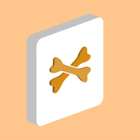 Crossed Bones Simple vector icon. Illustration symbol design template for web mobile UI element. Perfect color isometric pictogram on 3d white square. Crossed Bones icons for you business project