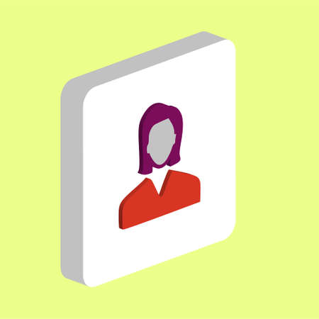 Female User Simple vector icon. Illustration symbol design template for web mobile UI element. Perfect color isometric pictogram on 3d white square. Female User icons for you business project
