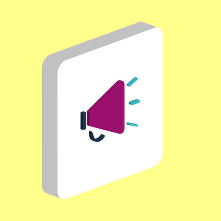 Loudspeaker Simple vector icon. Illustration symbol design template for web mobile UI element. Perfect color isometric pictogram on 3d white square. Loudspeaker icons for you business project 向量圖像