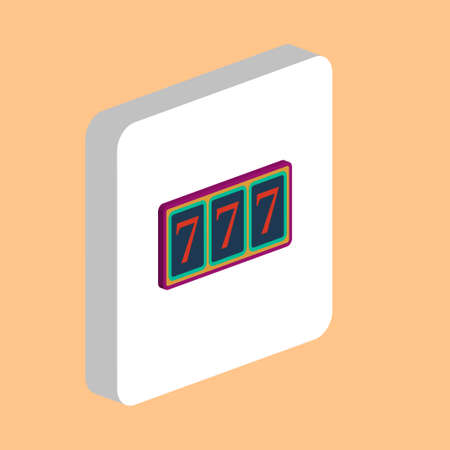 Fortune, 777 Simple vector icon. Illustration symbol design template for web mobile UI element. Perfect color isometric pictogram on 3d white square. Fortune, 777 icons for you business project Ilustrace