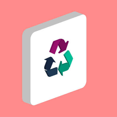 Recycling Arrow Simple vector icon. Illustration symbol design template for web mobile UI element. Perfect color isometric pictogram on 3d white square. Recycling Arrow icons for you business project