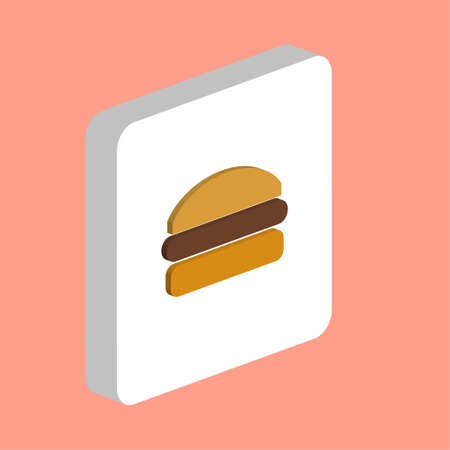 Beef Burger Simple vector icon. Illustration symbol design template for web mobile UI element. Perfect color isometric pictogram on 3d white square. Beef Burger icons for you business project