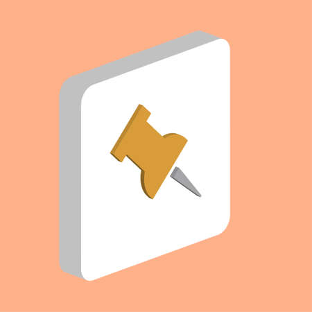 Push Pin Simple vector icon. Illustration symbol design template for web mobile UI element. Perfect color isometric pictogram on 3d white square. Push Pin icons for you business project