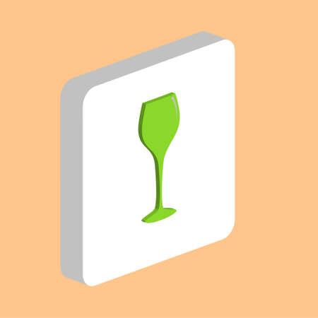 Wine Glass Simple vector icon. Illustration symbol design template for web mobile UI element. Perfect color isometric pictogram on 3d white square. Wine Glass icons for you business project Ilustração