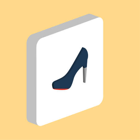 Woman Shoe Simple vector icon. Illustration symbol design template for web mobile UI element. Perfect color isometric pictogram on 3d white square. Woman Shoe icons for you business project