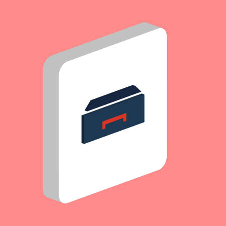 Box, Drawer Simple vector icon. Illustration symbol design template for web mobile UI element. Perfect color isometric pictogram on 3d white square. Box, Drawer icons for you business project