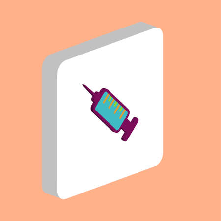 Syringe Simple vector icon. Illustration symbol design template for web mobile UI element. Perfect color isometric pictogram on 3d white square. Syringe icons for you business project