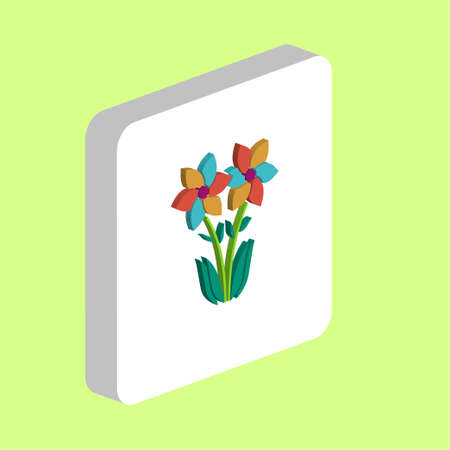 Flower Simple vector icon. Illustration symbol design template for web mobile UI element. Perfect color isometric pictogram on 3d white square. Flower icons for business project Foto de archivo - 137889263