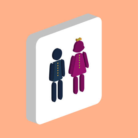 Kids Simple vector icon. Illustration symbol design template for web mobile UI element. Perfect color isometric pictogram on 3d white square