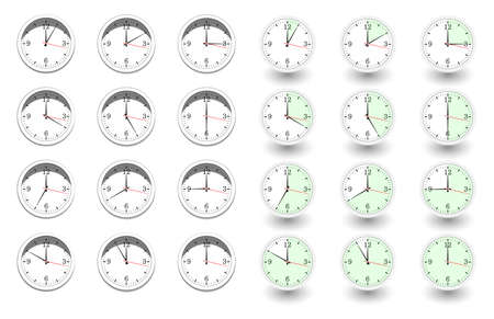 Set of clocks for every hour on white background. Vector illustration in flat style with shadow 向量圖像
