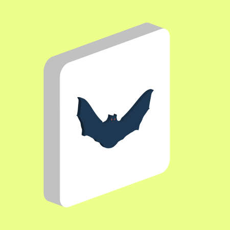 Bat Simple vector icon. Illustration symbol design template for web mobile UI element. Perfect color isometric pictogram on 3d white square. Bat icons for business project