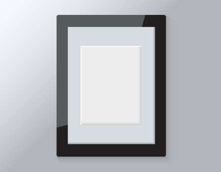 Realistic empty wooden modern horizontal picture frame isolated on grey background. Vector glass photo frame for wall, interior artwork design. A4 vintage photo frame mockup template - illustration Ilustração