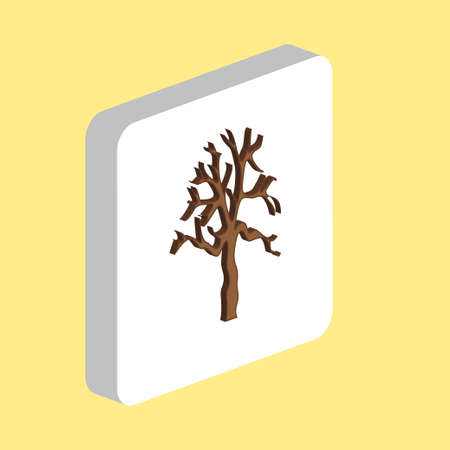 Old Dead Tree Simple vector icon. Illustration symbol design template for web mobile UI element. Perfect color isometric pictogram on 3d white square. Old Dead Tree icons for business project 일러스트